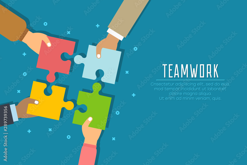 Fototapeta Teamwork concept. Businessmen hold in hands and connect the pieces of jigsaw puzzle. Team work business metaphor. Vector illustration in flat style.