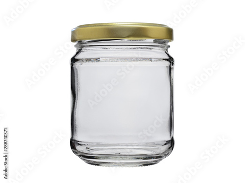 Empty jar of glass, closed with a metal lid Canvas Print