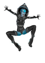 Alien Queen In A Red Sci Fi Outfit Doing A Spider Jump In A White Background