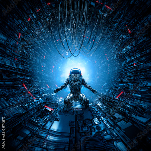 Last man standing / 3D illustration of lone astronaut left behind in dark space Canvas Print
