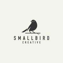 Little Bird Silhouette Logo - Light Background Vector Design