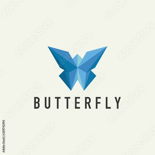 Fotografie, Obraz Geometric Butterfly Logo - Vector Design