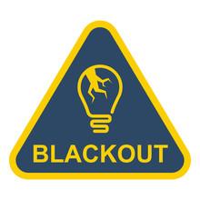 Blackout Triangular Sign. Cracked Light Bulb. Flat Vector Illustration.