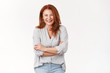 Bright happy successful redhead middle-aged woman loved caring mother laughing funny grandchild cross arms chest confidence delight giggle gaze camera accomplished joyful, white background