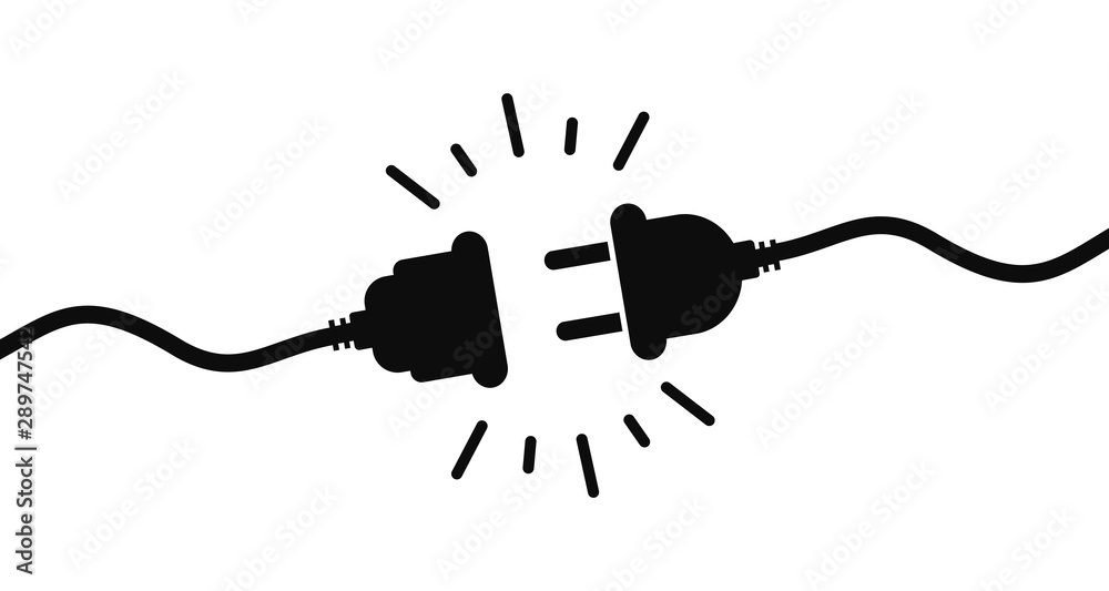 Fototapety, obrazy: Electric socket with a plug. Connection and disconnection concept. Concept of 404 error connection. Electric plug and outlet socket unplugged. Wire, cable of energy disconnect – stock vector