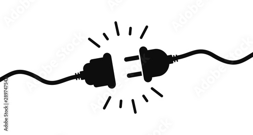Obraz Electric socket with a plug. Connection and disconnection concept. Concept of 404 error connection. Electric plug and outlet socket unplugged. Wire, cable of energy disconnect – stock vector - fototapety do salonu