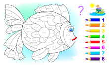 Math Education For Children. Coloring Book. Mathematical Exercises On Addition And Subtraction. Solve Examples And Paint Fish. Developing Counting Skills. Printable Worksheet For Kids Textbook.