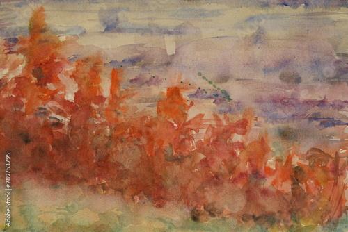 Türaufkleber Darknightsky Landscape painting