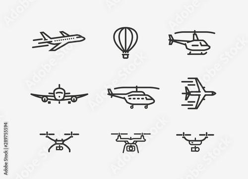 Cuadros en Lienzo Set of airplane icon