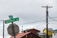 The Sign Of Seppala And Belmont Street In Nome, Alaska.