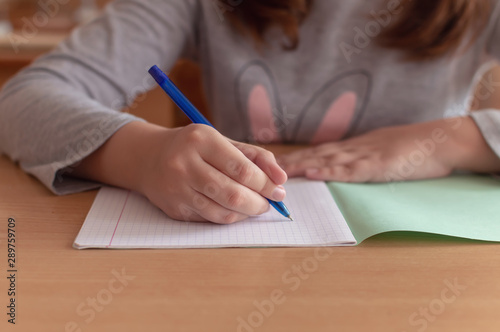 Fotografía hand of a teenage girl writes with a ballpoint pen in a terad during a lesson at