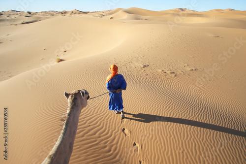 Keuken foto achterwand Marokko man and camel in the desert