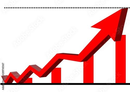 Photo 立体的な赤い矢印とグラフ