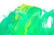 Leinwandbild Motiv Green watercolor on white background