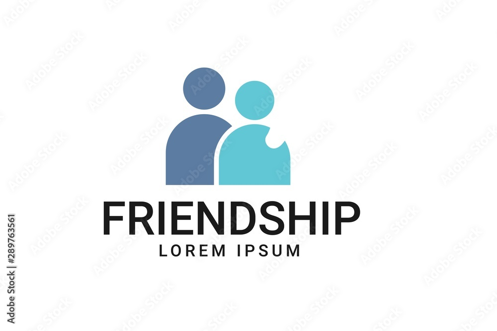 Fototapeta Two Friends Logo Icon People Teamwork partener Vector Illustration