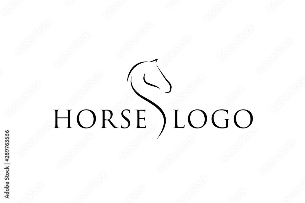 Fototapety, obrazy: Horse Elegant Logo Symbol Vector, Simplicity Line Art Concept