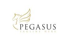 Line Art Pegasus Horse Logo Icon Vector Inspiration
