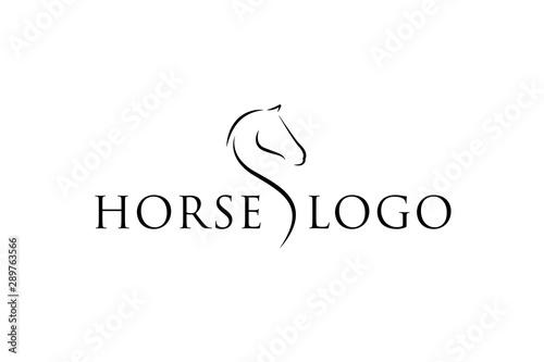 Horse Elegant Logo Symbol Vector, Simplicity Line Art Concept
