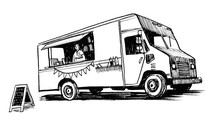 Vintage Retro American Truck. Ink Black And White Sketch