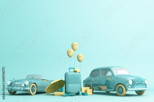 Photo sur Toile Cartoon voitures Concept retro car with luggage surrounded by travel equipment in green color tone. 3d rendering