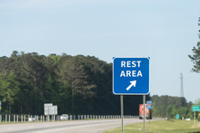 Highway Road In Alabama With Welcome Center Rest Area Sign On Street With Nobody At Visitor Center In Lanett, Alabama