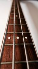 Bass Guitar Neck . Color Background. Closeup