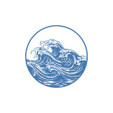 Ocean Wave Circle Illustration Design Logo