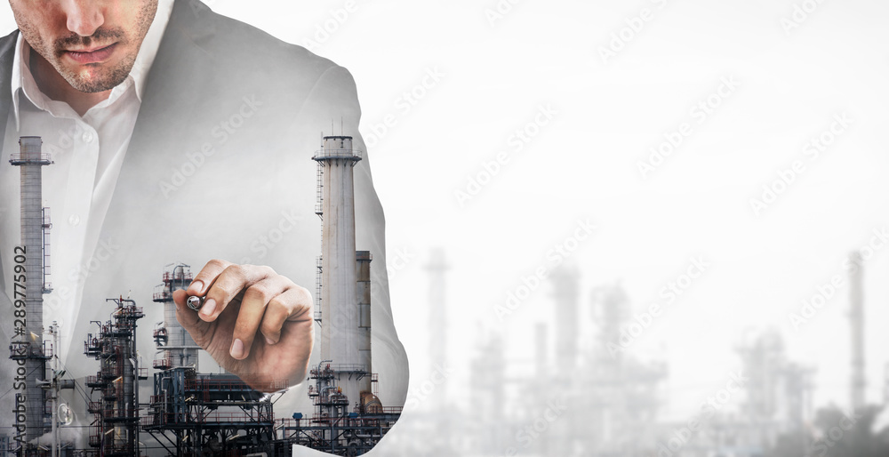 Fototapety, obrazy: Double exposure man on factory graphic interface. Concept of modern industry technology.