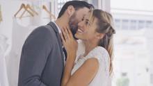 Happy Bride And Groom In Weddi...