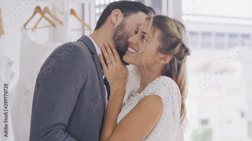 Fotografie, Obraz  Happy bride and groom in wedding dress prepare for married in wedding ceremony