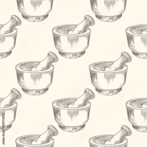 Obraz na płótnie Hand drawn mortar and pestle seamless pattern.