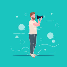 Professional Photographer Taking Picture Photo Man Traveler Shooting With Digital Dslr Camera Male Cartoon Character Full Length Flat