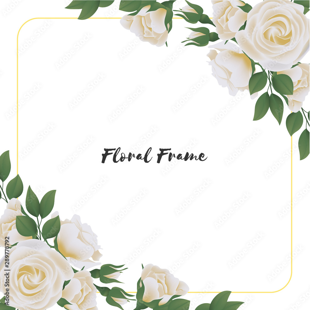 Fototapeta Beautiful square flower frame with white rose bouquet