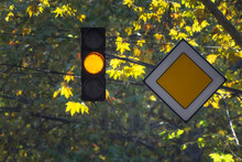 Traffic Light With Yellow Colo...