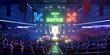 Leinwanddruck Bild - The E-sport arena, 3d scene rendering
