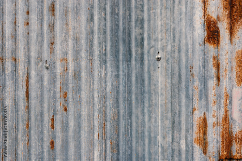 Rusted galvanized iron texture..Closeup of old zinc sheet partition with rusted texture in vertical column. #289783335