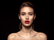 canvas print picture - Beautiful  fashion woman with red lipstick. Pretty model.
