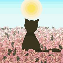 Field Of Roses With Dark Black...