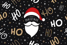 Ho Ho Ho Santa Claus Laugh Hat And Beard Seamless Texture Pattern Black Background