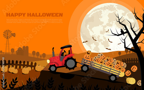 The tractor carrying smiley halloween pumpkins in trailer with background of farm and full moon. Flat cartoon vector illustration.