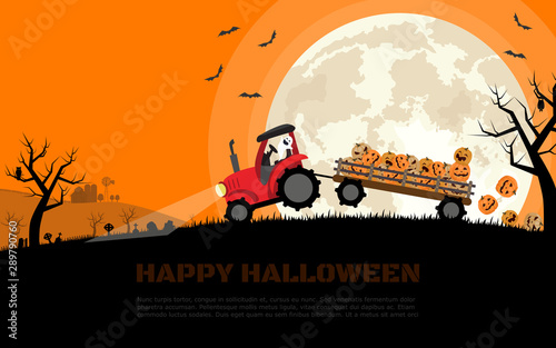 The tractor carrying smiley halloween pumpkins in trailer with background of graveyard, farm and full moon. Flat cartoon vector illustration.