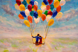 Illustration of love and valentine day painting Young couple in love fly on air balloons