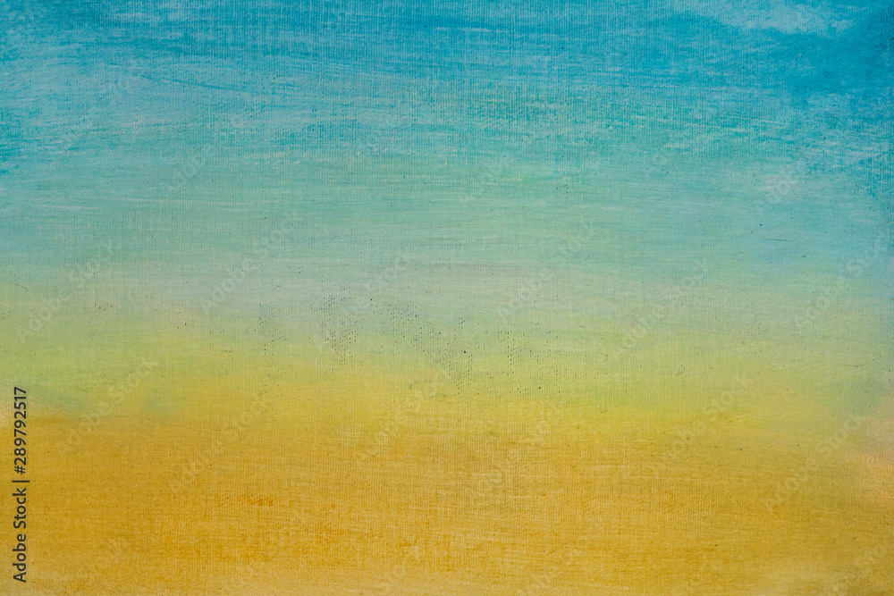 Fototapeta Hand painted modern art background on canvas painting. Blue orange gradient artwork