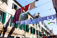 Clothes Hanging To Dry On A Clothes-line