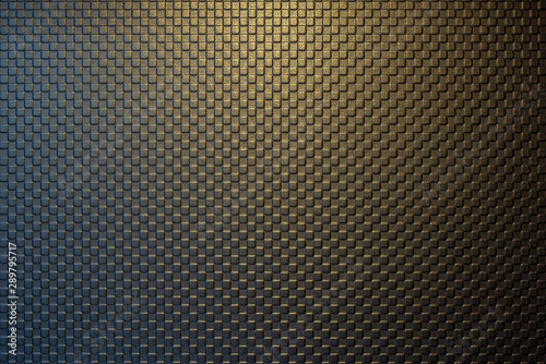 Fototapeta The golden square block shape embossed texture background with the lighting on the top