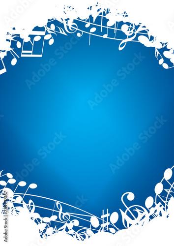 Obraz na plátně  blue vertical background a4 with white music notes - vector flyer