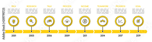 Fototapeta Simple timeline infographic with 8 options. Vector obraz