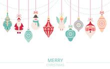 Garland Of Christmas Decorations. Retro Christmas Balls, Santa Claus, Snowman And Angel