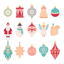 Set Of Christmas Retro Toys For Decorating The Christmas Tree. New Year's Elements