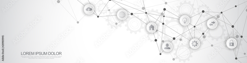 Fototapeta Website header or banner design with abstract technical background and connecting dots and lines. Digital technology and communication concept with flat icons.